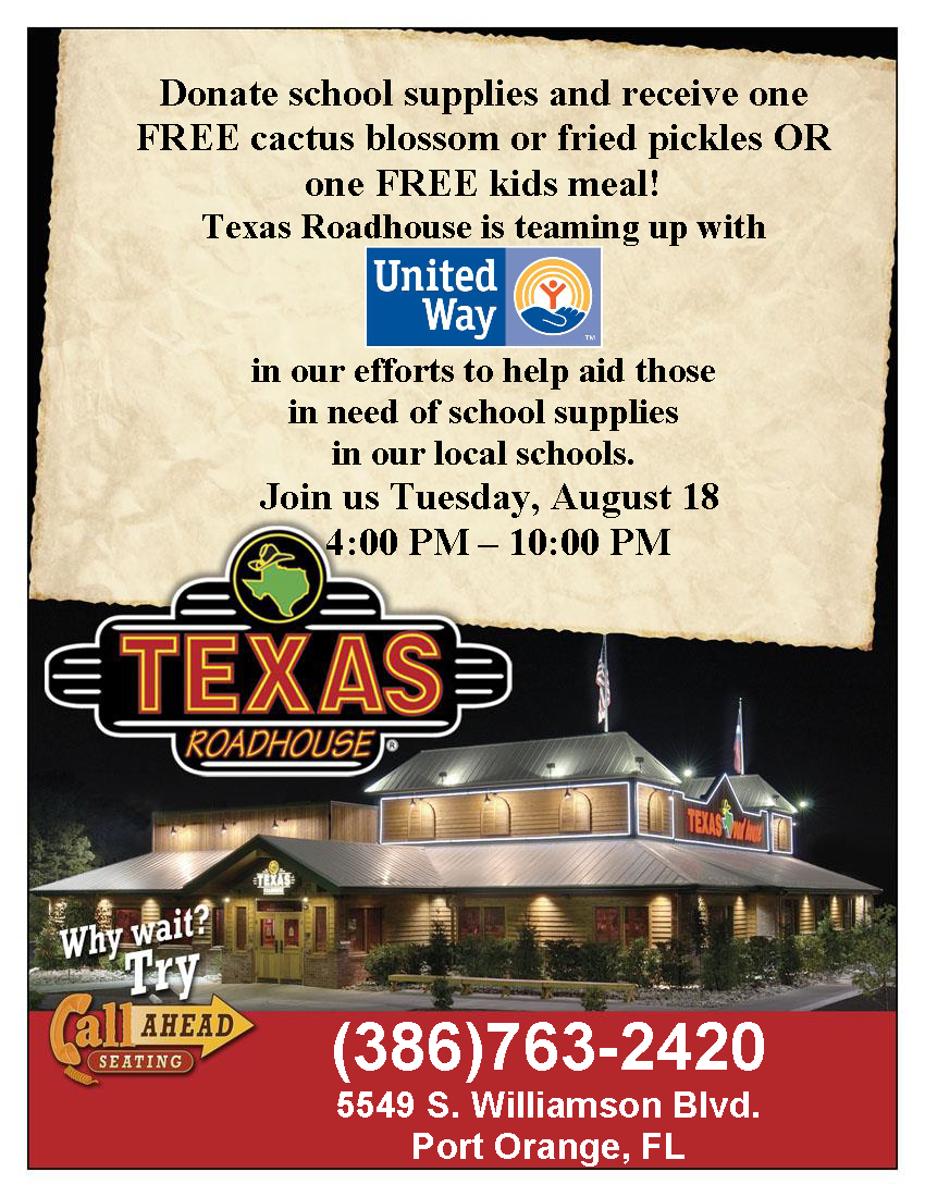 School Supply Drive at Texas Roadhouse